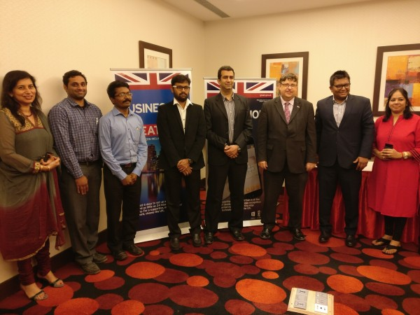 Tech Rocketship Award winners posing with British Deputy High Commissioner Dominic McAllister and Gita Krisnankutty – first secretary of head of inward investment India.