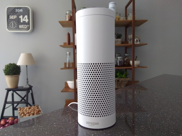 Amazon Echo is seen at its product launch for Britain and Germany