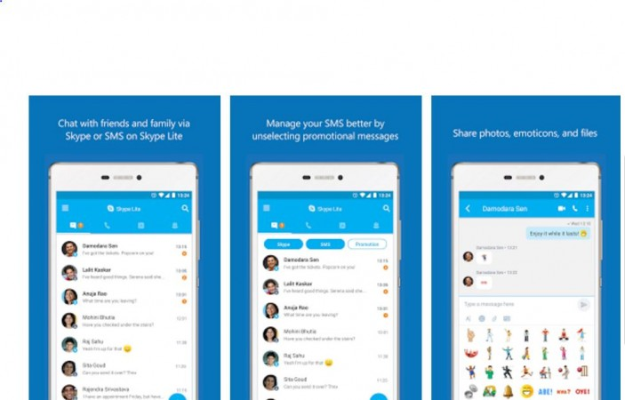 Skype Lite microsoft made for india video chat app mobile Google Play store Android India built for india