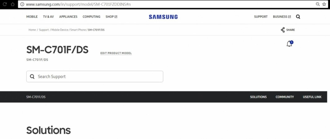 Samsung Galaxy C7 Pro, Samsung india, support page