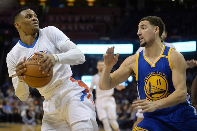 Russell Westbrook, Klay Thompson, Thunder vs Warriors, NBA,