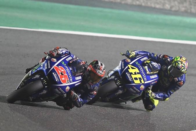 ... Vinales and Valentino Rossi during Qatar MotoGP 2017 Yamaha MotoGP