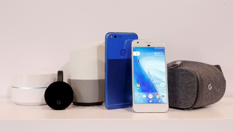 Google Wifi, Google Chromecast Ultra, Google Home, Google Pixel XL, Google Pixel and Google Dreamview VR on display