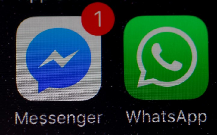 WhatsApp and Facebook messenger icons seen on iPhone