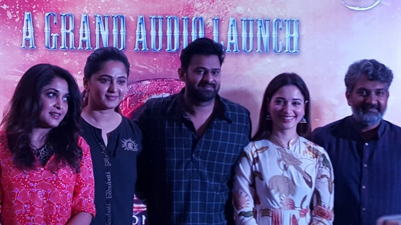 SS Rajamouli, Prabhas, Anushka Shetty and Tamannaa Bhatia at Baahubali 2 Tamil audio launch