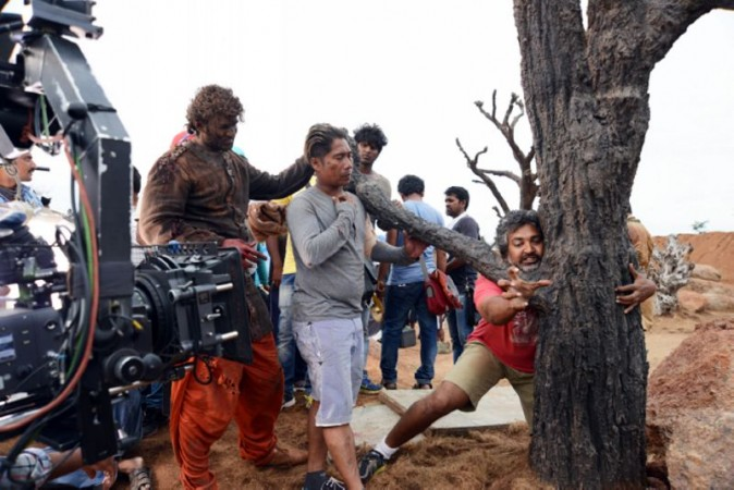 SS Rajamouli with Prabhas and Peter Heins on Baahubali set