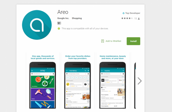 Google Areo, Food delivery, home services, India,launch