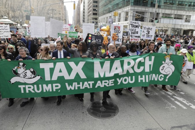 President Trump says Tax Day protesters were paid