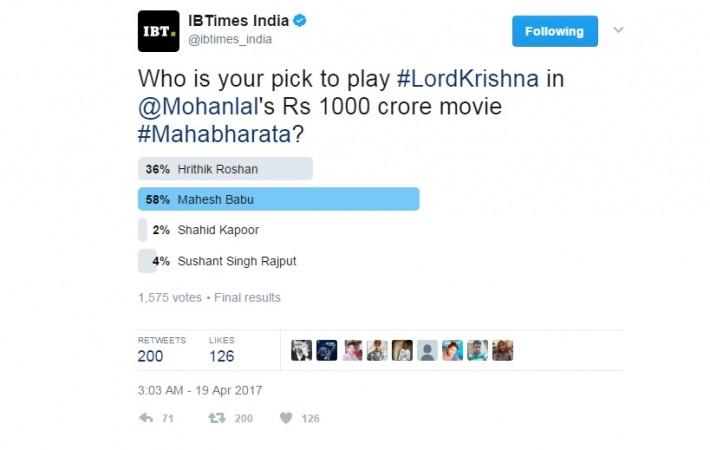 Mahesh Babu, Hrithik Roshan, Mahabharata, Lord Krishna, IBT poll