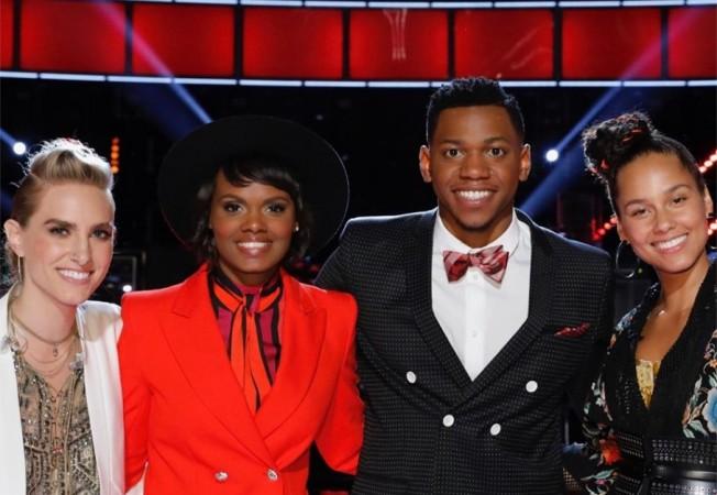 Stephanie Rice, Vanessa Ferguson and Chris Blue with their coach Alicia Keys on The Voice USA 2017 Season 12