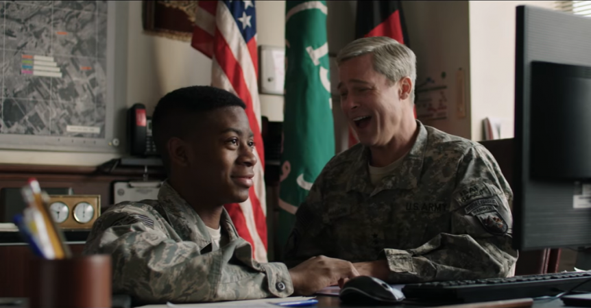 Pitt goes all out in flawed satire 'War Machine'