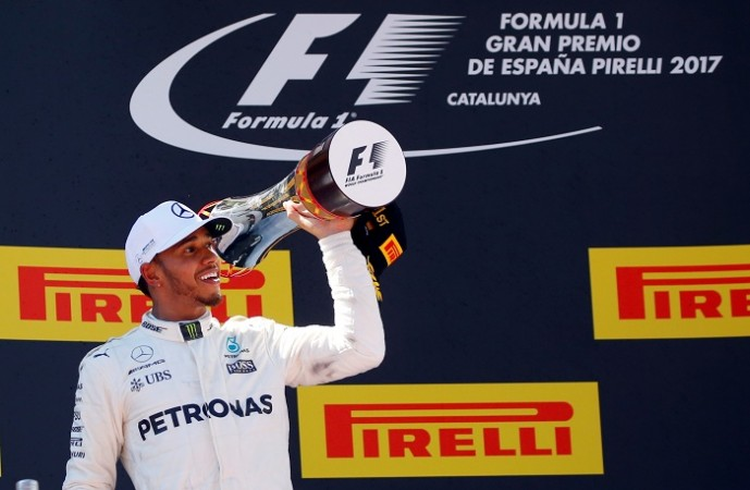 Hamilton celebrates Spanish GP win