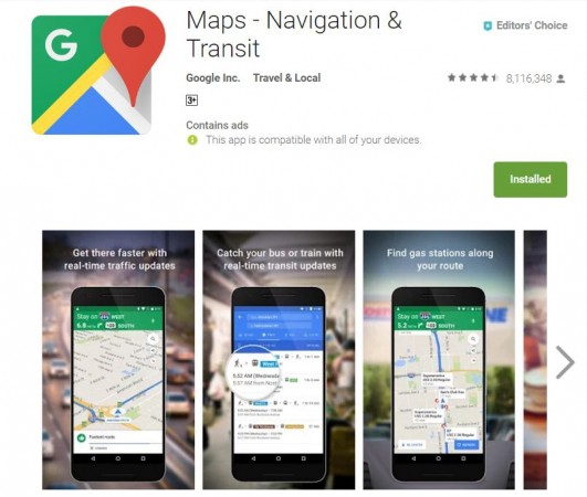 Google Maps, toilet locator, travel time, destination, real time traffic data,