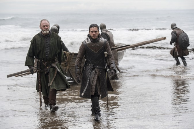 Kit Harington as Jon Snow with Liam Cunningham as Davos Seaworth