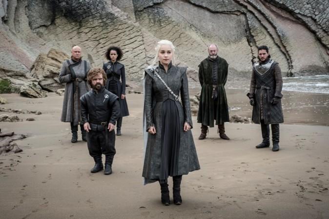 Emilia Clarke, Peter Dinklange, Conleth Hill, Nathalie Emmanuel, Liam Cunningham and Kit Harington in a still from Ep 4 'Spoils of War'