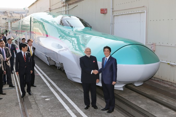 Abe, Modi launch India's first bullet train