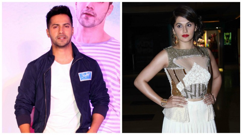 varun dhawan kicks taapsee pannu on sets of judwaa 2