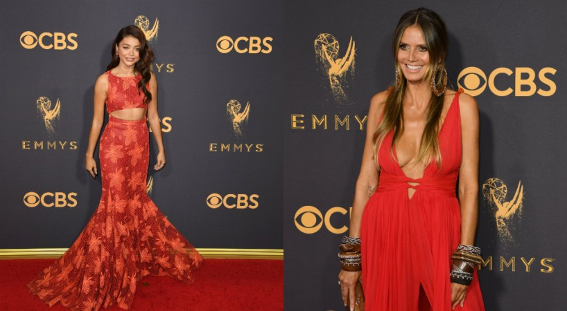 Sarah Hyland and Heidi Klum on the red carpet of the 69th Primetime Emmy Awards