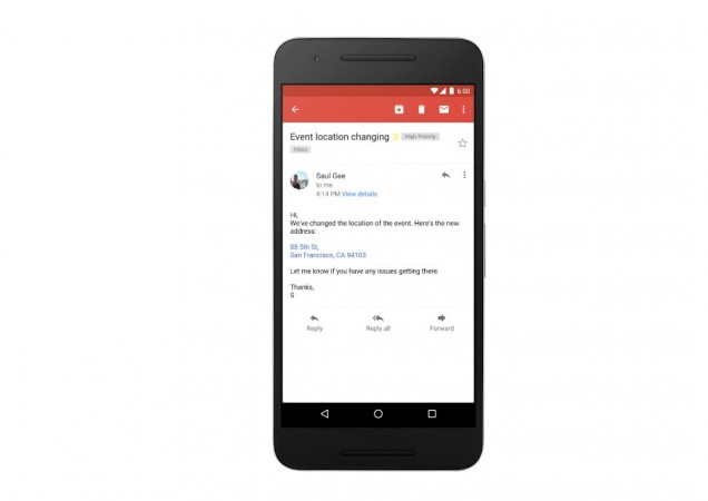 Gmail now converts addresses and phone numbers to actionable links