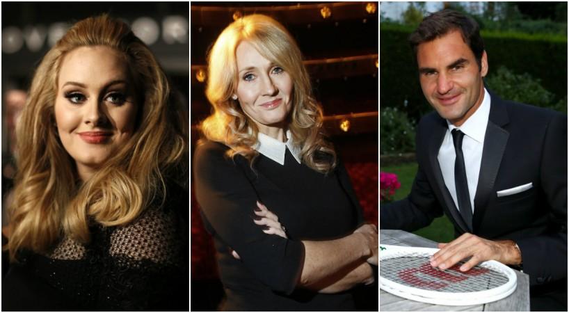 Adele, J.K. Rowling, Roger Federer