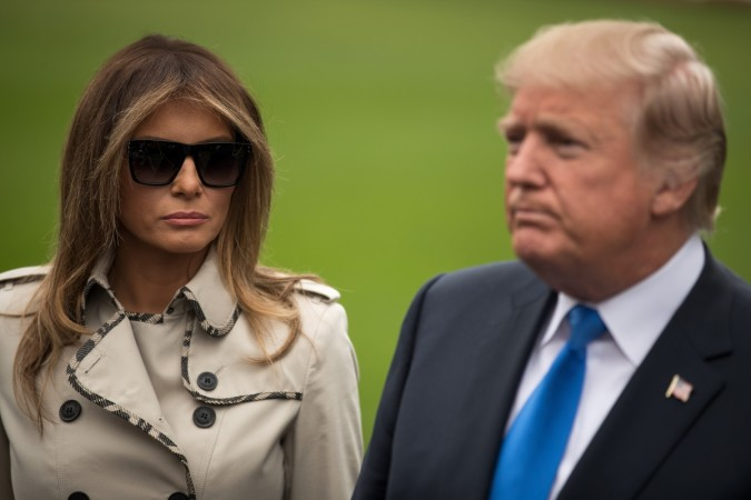Awkward! Donald Trump tries to grab Melania's hand again, fails