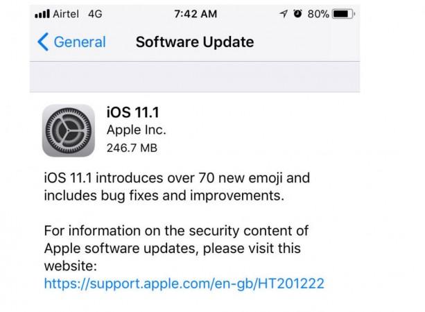 Apple, iOS 11.1, update, KRACK Wi-Fi bug