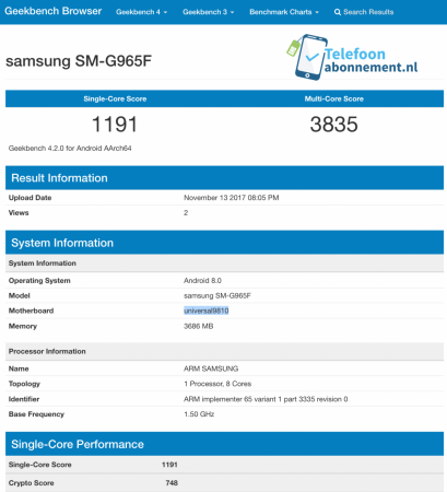 Samsung Galaxy S9  listed on Geekbench