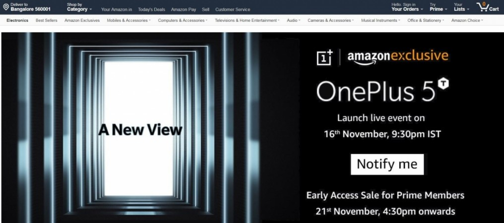 OnePlus 5T, Amazon India, Early Access Sale, Amazon Prime