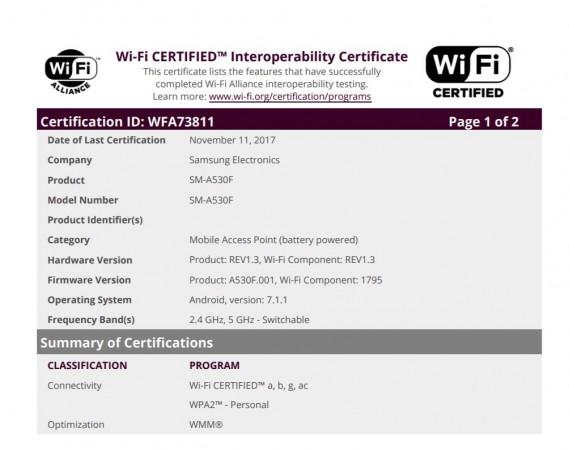 Samsung Galaxy A5, Wi Fi Alliance certifications