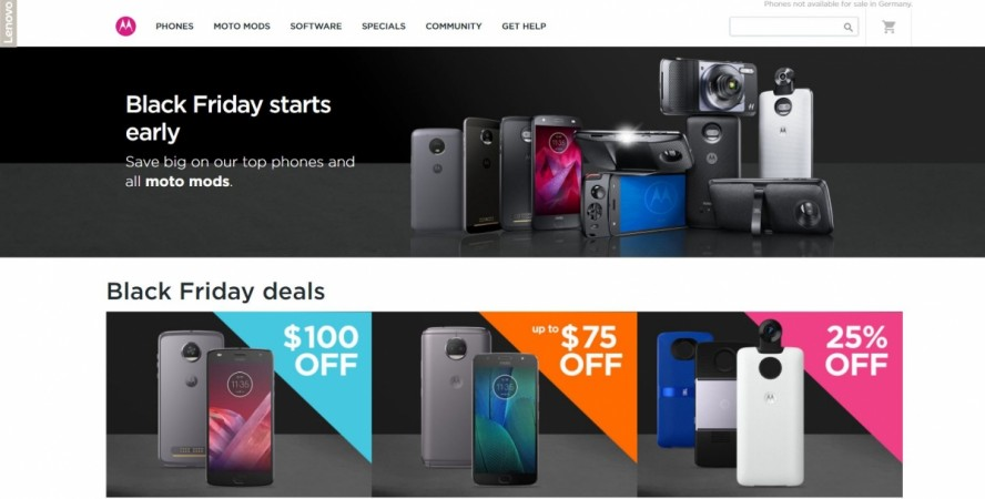 Motorola, Black Friday Sale, Moto X4, Moto Z2 Play, Moto G5 Plus, Moto E4 Plus, Moto Mods