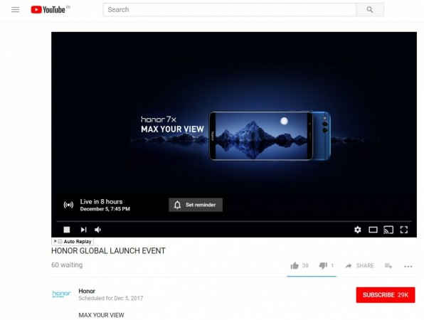 Huawei Honor 7X launch live stream global unveiling