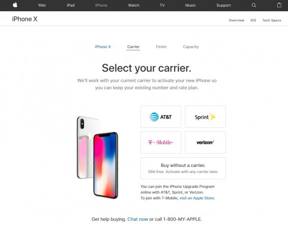SIM-free iPhone X models