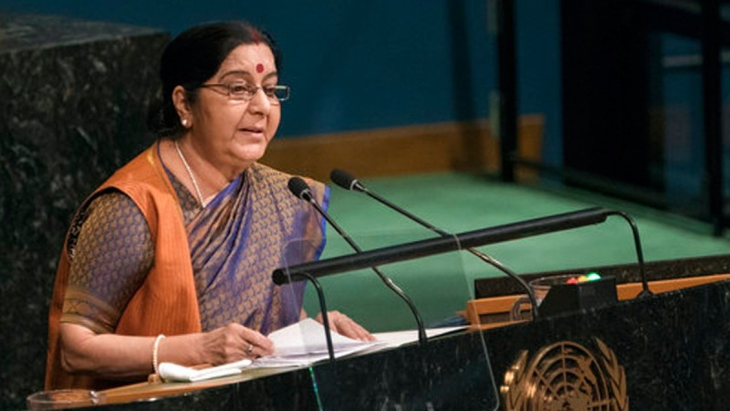 Sushma hit out at Pakistan for humiliating Jadhav family