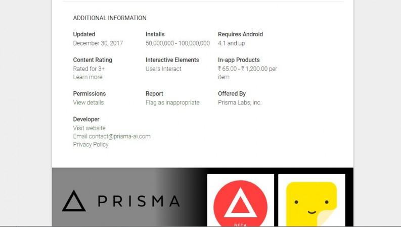 Prisma, downloads, 50 million, Google Play store