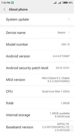 MIUI 9.2 for Redmi 1S