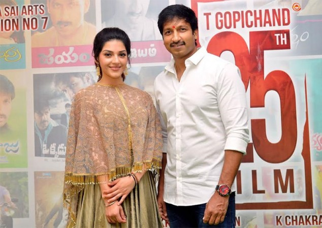 Gopichand with Mehreen Kaur Pirzada at his 25th film Pantham launch