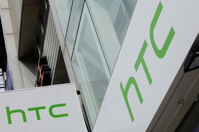 Logos of HTC are seen outside its store in Taipei, Taiwan