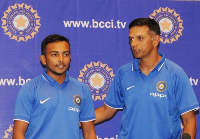 Prithvi Shaw and Rahul Dravid
