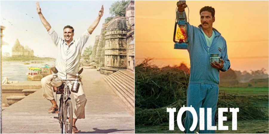 Akshay Kumar in PadMan (left) and in Toilet Ek Prem Katha (right)
