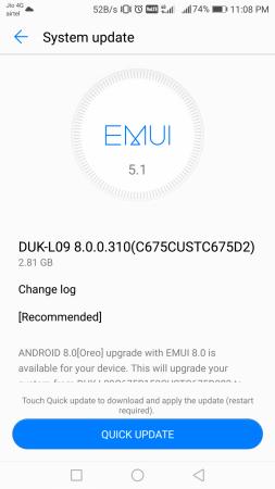 Honor 8 Pro Oreo update