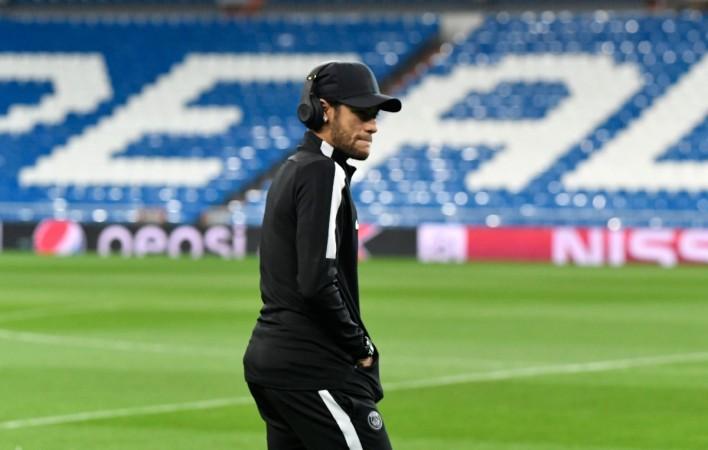 Paris Saint-Germain's Brazilian forward Neymar walks on the pitch at the Santiago Bernabeu stadium in Madrid on February 13CHRISTOPHE SIMON  AFP  Getty