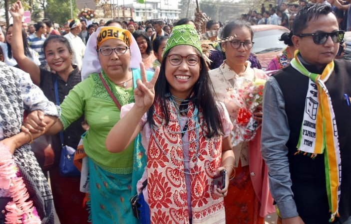 Agatha Sangma, NPP candidate from South Tura seat and daughter of Former Meghalaya Chief Minister P. A. Sangma, shows victory sign after workers celebrate the party's performance in the recently concluded Meghalaya assembly elections, in Meghalaya's Tura
