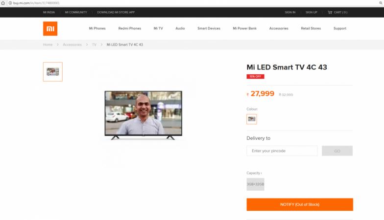 Xiaomi, Mi TV 4C, 43-inch, Smart TV, India, launch, Mi.com
