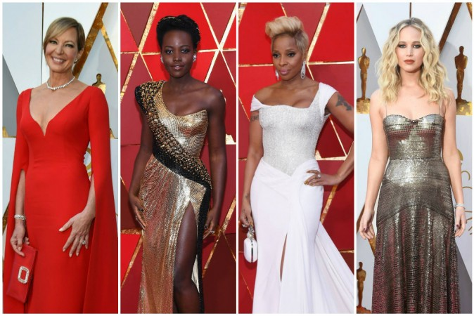 (L to R) Alison Janney, Lupita Nyong'o, Mary J Blige and Jennifer Lawrence at the Oscars 2018 Red Carpet.