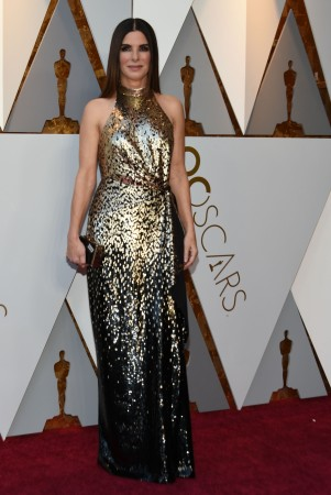 Sandra Bullock arrives for the 90th Annual Academy Awards on March 4, 2018, in Hollywood, California.