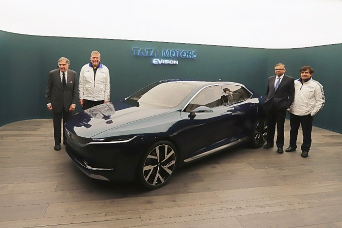 Tata motors reveals sleek e vision electric sedan concept for Tata motors electric car