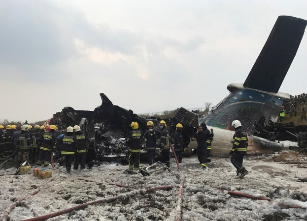 Wreckage of an airplane at Kathmandu airport