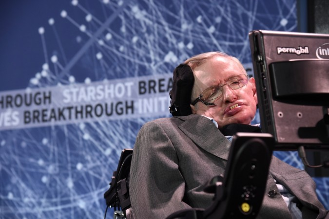 Stephen Hawking at One World Observatory on April 12, 2016 in New York City.