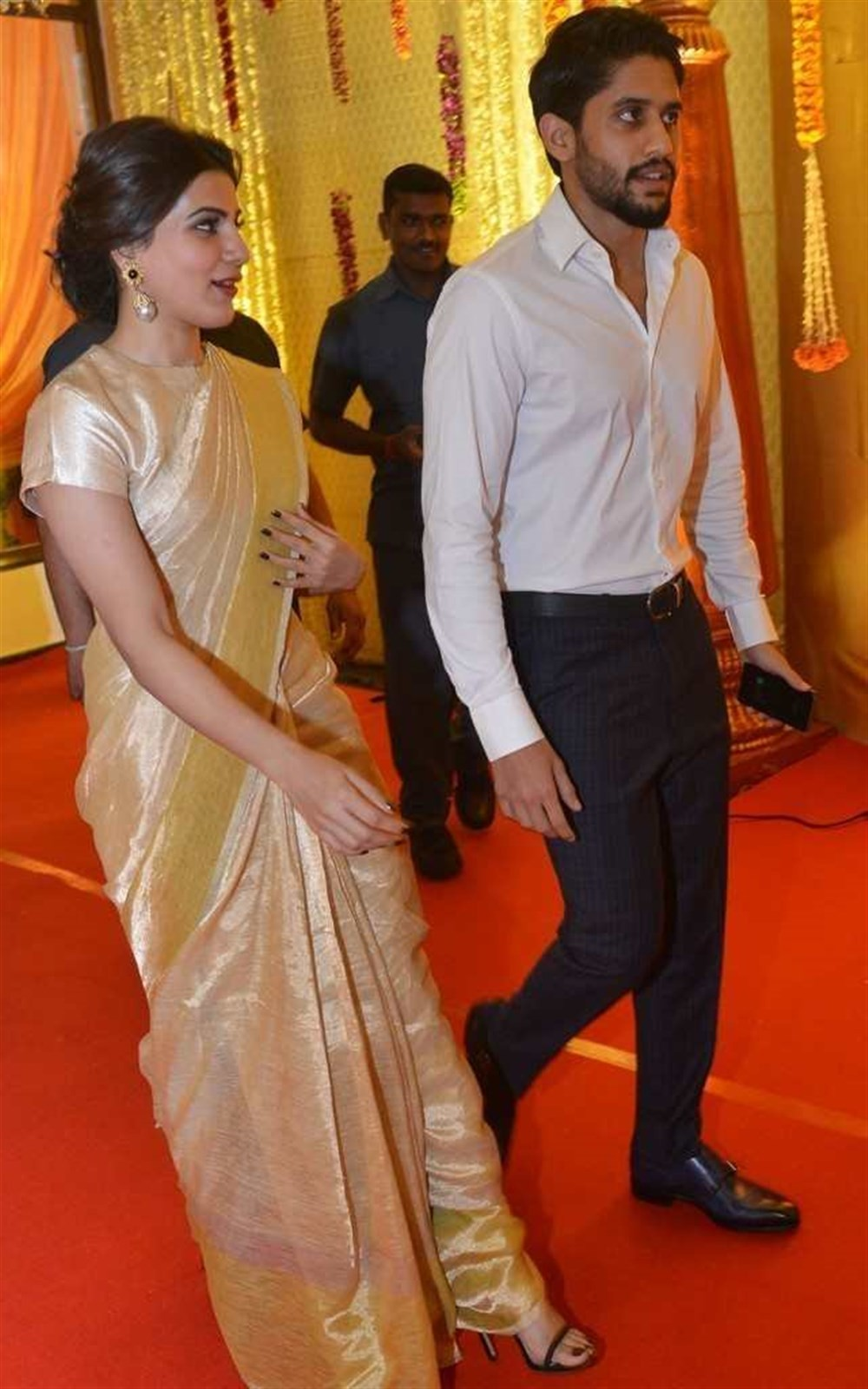 Samantha and Naga Chaitanya,Naga Chaitanya and Samantha,Naga Chaitanya Samantha,Nimmagadda Prasad Daughter wedding,Nimmagadda Prasad,Samantha with Naga Chaitanya,Naga Chaitanya with Samantha