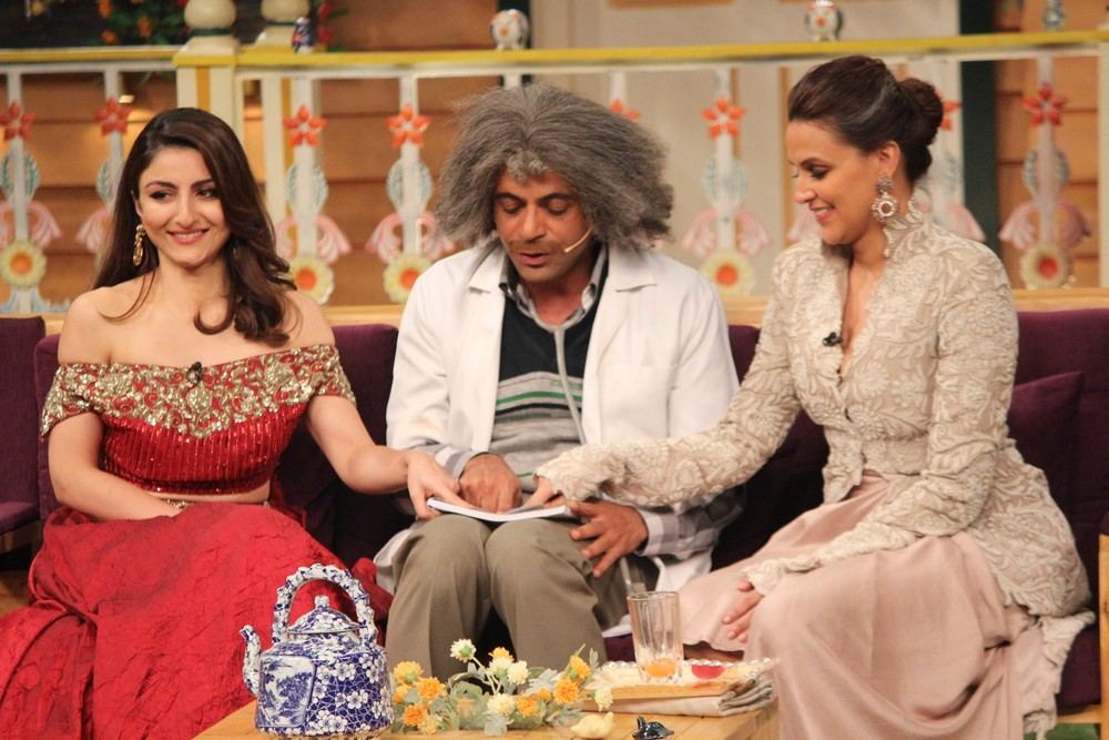 Soha Ali Khan,Neha Dhupia,Soha Ali Khan and Neha Dhupia,Soha Ali Khan on the set of Kapil Sharma Show,Neha Dhupia on the set of Kapil Sharma Show,Kapil Sharma Show